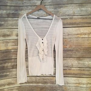 FREE PEOPLE Long Sleeve Shirt Top with Ruffles